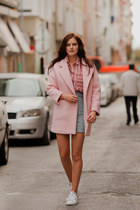 light pink romwe coat - periwinkle romwe skirt