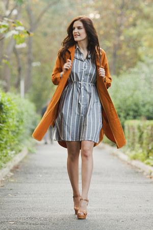 silver Sheinside dress - tawny Sheinside jacket