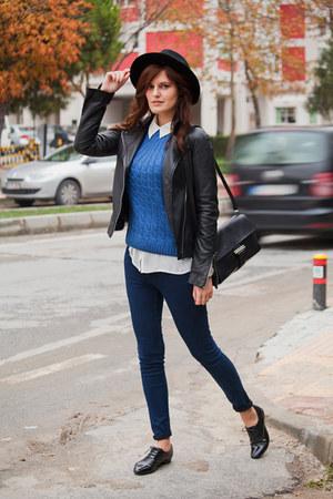 blue BangGood sweater - navy Pull & Bear jeans - black Mango jacket