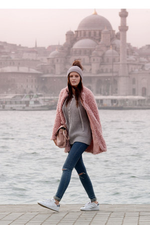 light pink DressLink coat - navy romwe jeans - peach Zara bag