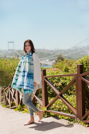 sky blue Celia Gould scarf - white Chicwish blouse