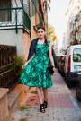 Green-sheinside-dress-black-zara-heels
