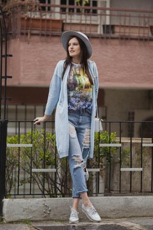 sky blue zaful cardigan - sky blue pull&bear jeans