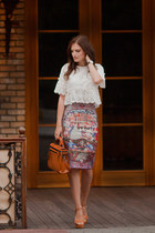 brown romwe skirt - white romwe blouse
