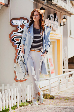 light blue Chicwish coat - white Zara pants