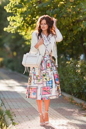 white Sheinside skirt - white Sheinside blouse