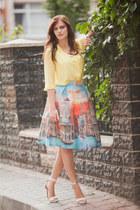 yellow Choies skirt - yellow H&M blouse