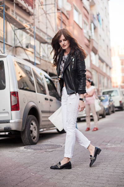 heather gray Modparade top - white Zara jeans - black Zara jacket