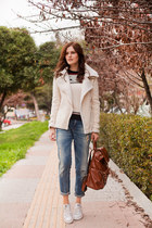 ivory Sheinside coat - white Sheinside sweater