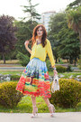 Sky-blue-chicwish-skirt-light-yellow-h-m-blouse-white-mango-heels