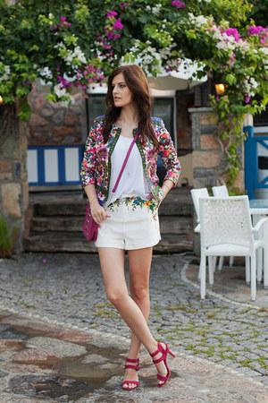 hot pink 6ks blazer - white 6ks shorts