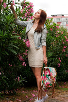 light blue Koton jacket - off white H&M dress - pink Accessorize bag