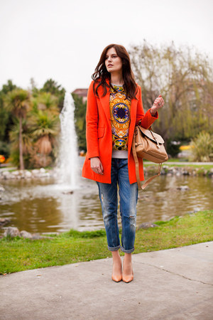 carrot orange Sheinside coat - blue Zara jeans