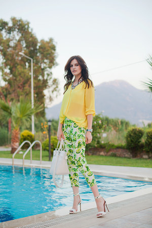 lime green Black Five pants - yellow H&M blouse