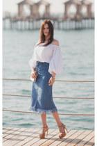 white Sheinside top - blue Sheinside skirt