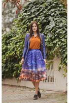 blue Chicwish skirt - tawny AX Paris shirt - dark brown Massimo Dutti bag