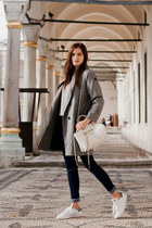 heather gray Sheinside coat - navy Sheinside jeans