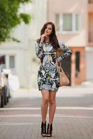 black asos boots - heather gray Les Eclaires dress - tan Zara bag