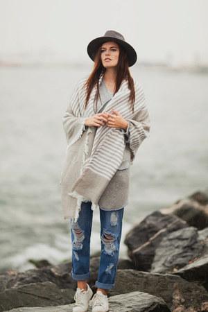 silver romwe scarf - silver romwe cardigan