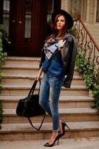 navy Alpha Gypsy scarf - blue Bershka jeans - black Zara hat