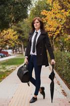 black BangGood jacket - navy Pull & Bear jeans - black Zara bag