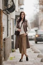 brown Sheinside coat - tan Sheinside pants