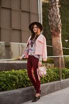 bubble gum Sheinside jacket - maroon ADL jeans