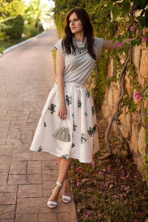 cream Sheinside skirt - silver Zara top