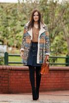 blue Sheinside coat - bronze Sheinside sweater