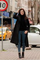 black Sheinside coat - black Sheinside sweater