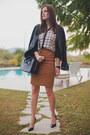 Black-mango-jacket-white-persunmall-shirt-gold-koton-skirt