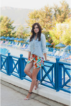COLORFUL SKORT & DENIM SHIRT