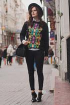 black Zara boots - black Zara jeans - black Monki sweatshirt