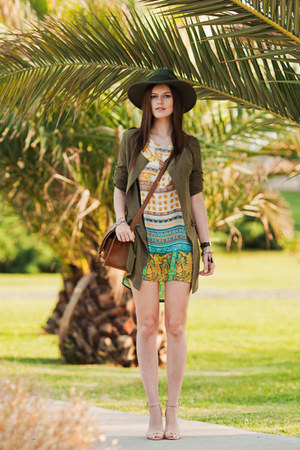 beige Sheinside dress - light brown Sheinside jacket - brown H&M bag