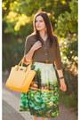 Dark-khaki-romwe-shirt-chartreuse-romwe-skirt