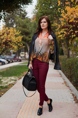orange Sheinside blouse - ruby red ADL jeans - black Mango jacket