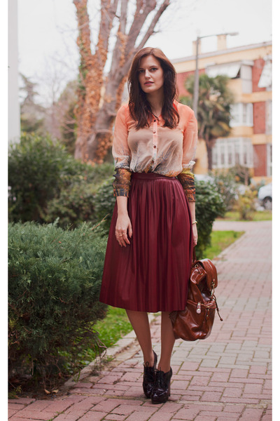 brick red Zara skirt - orange Sheinside blouse