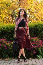 maroon Zara skirt