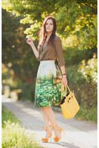 chartreuse romwe skirt - dark khaki romwe shirt