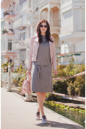 light pink Sheinside jacket - heather gray Sheinside dress