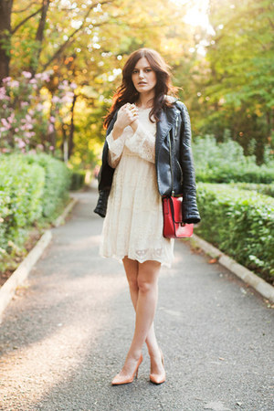 ivory Chicwish dress - red Zara bag