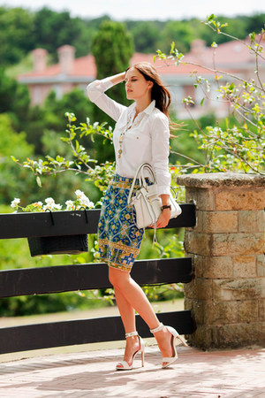 white Zara shirt - teal Chicwish skirt