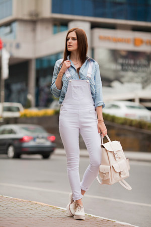 white romwe romper - periwinkle romwe blouse - ivory Stradivarius loafers