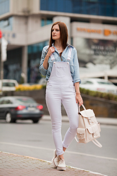 white romwe romper - periwinkle romwe blouse - ivory Stradivarius loafers
