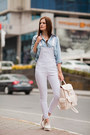 White-romwe-romper-periwinkle-romwe-blouse-ivory-stradivarius-loafers