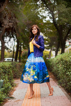 BLUE PRINTED MIDI SKIRT