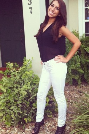 black button up cotton on blouse - white skinny jeans Forever 21 jeans