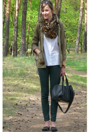 green H&M pants - olive green H&M jacket - brown H&M scarf