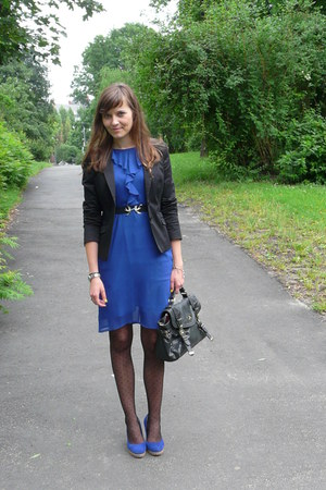 blue dress - black H&M blazer
