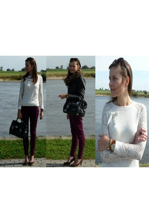 cream pull&bear blouse - black Stradivarius jacket - black River Island bag